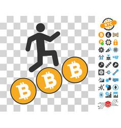 person steps bitcoin coins icon with bonus vector image