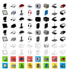 Personal computer cartoon icons in set collection vector