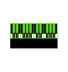 Piano keyboard sign green 3d icon with vector