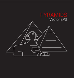 Printsphinx and pyramid egypt line icon vector