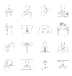 Public speaking icons outline vector