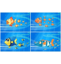 Scenes with fish under the water vector image