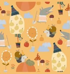 seamless pattern with funny animals and autumn vector image