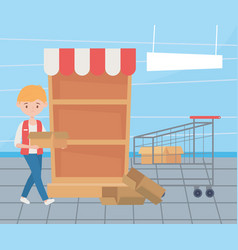 Seller with empty shopping cart and box sold out vector