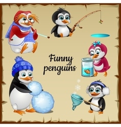 set five funny penguins with his hobby vector image