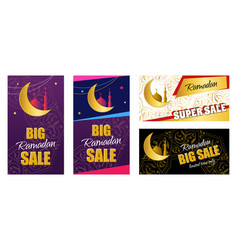 Set flyer - ramadan big sale design web banner vector