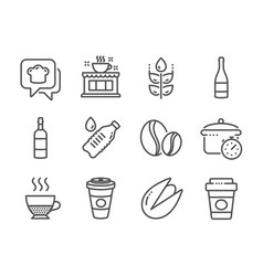 Set food and drink icons such as pistachio nut vector