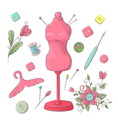 set mannequin sewing accessories hand drawing vector image