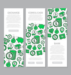 Set of three digital money and bank vertical vector