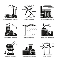 set of web icons on electricity generation plants vector image