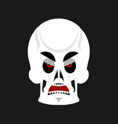 skull angry emoji skeleton head grumpy emotion vector image