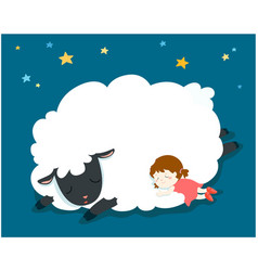 Sleeping girl with fluffy sheep vector