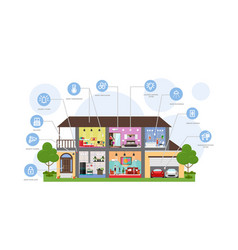 Smart house automation technology system vector
