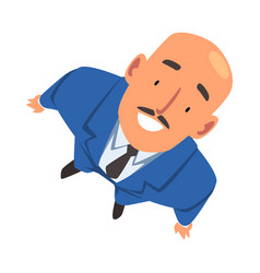 Smiling bald businessman in suit looking up view vector