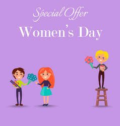Special offer only on womens day promotiom poster vector