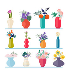 spring flowers beautiful buds branches in vases vector image