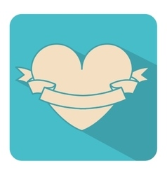 Square shape with big heart and label vector