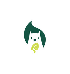 squirrel leaf logo icon mascot character vector image