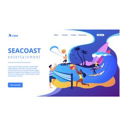 Summer beach activities concept landing page vector