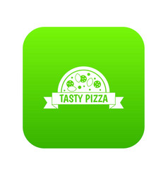 tasty pizza sign icon digital green vector image