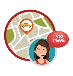 taxi mobile call center gps vector image
