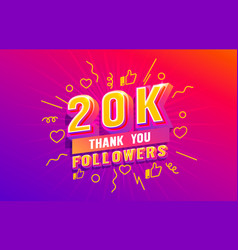 Thank you 20k followers peoples online social vector