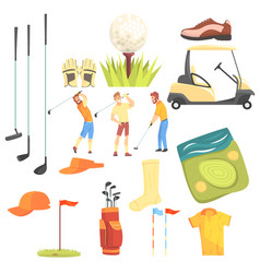 three golfers playing golf surrounded sport vector image