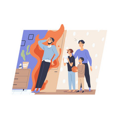 Tired father and annoying disturbing children vector