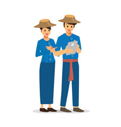 Two farmer using a tablet vector