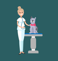 veterinarian taking care cat patient on table vector image