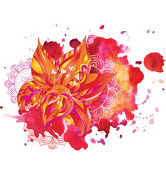 watercolor stains flowers mandala vector image