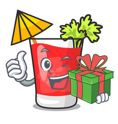 With gift bloody mary mascot cartoon vector