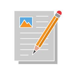 Writing essay glyph color icon vector