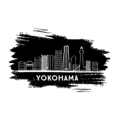 Yokohama Skyline Silhouette Hand Drawn Sketch vector