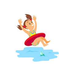 young girl swimming with inflatable circle vector image