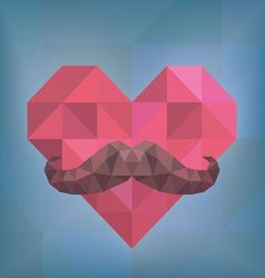 Abstract Hipster Moustache on Heart Background vector image