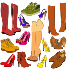 collection of different shoes vector image vector image