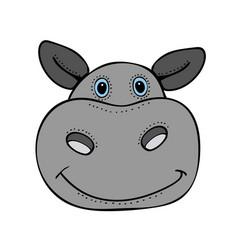 Hippo cute funny cartoon head vector