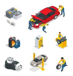 mechanic and car repair battery spark plugs oil vector image