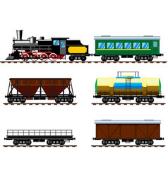 Old steam locomotive with wagons vector image
