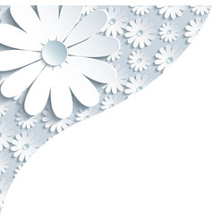 Stylish gray background with 3d white chamomile vector image vector image