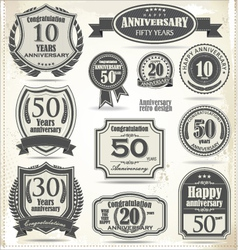 Anniversary badges and labels retro design vector image