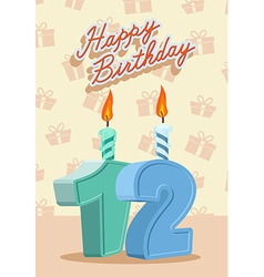 Birthday candle number 12 with flame vector image vector image