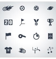 black football icon set vector image