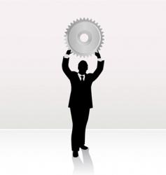 businessman lifting wheel vector image vector image