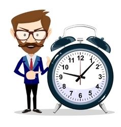 businessman with alarm clocks symbolizing time vector image
