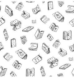 Open Books Drawing Seamless Pattern Background vector image