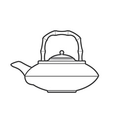 outline asian teapot vector image