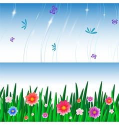 banners with repeating pattern tile of grass and vector image