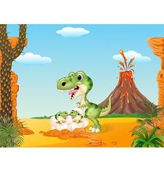 Cartoon mom tyrannosaurus dinosaur and baby vector image vector image